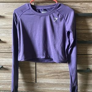 Gymshark Purple Crop Top with thumb holes